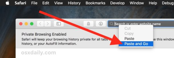 Paste and Go in the URL bar of Safari for Mac