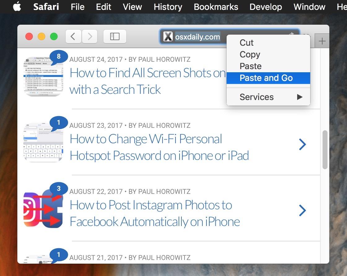 Use Paste And Go To Expedite Safari Web Browsing On Mac Osxdaily
