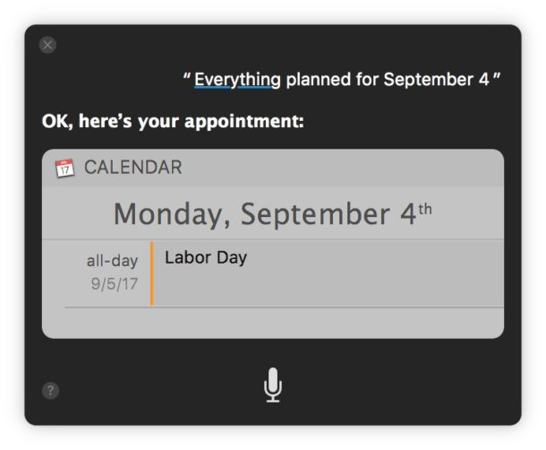 Siri showing everything planned on a specific day calendar