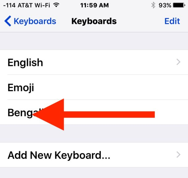 Swipe to delete a keyboard in iOS