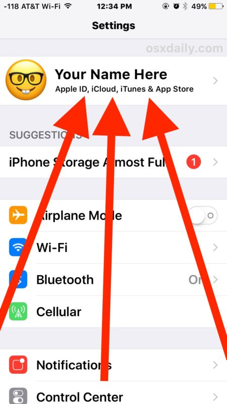 Access iCloud Settings in iOS on iPhone