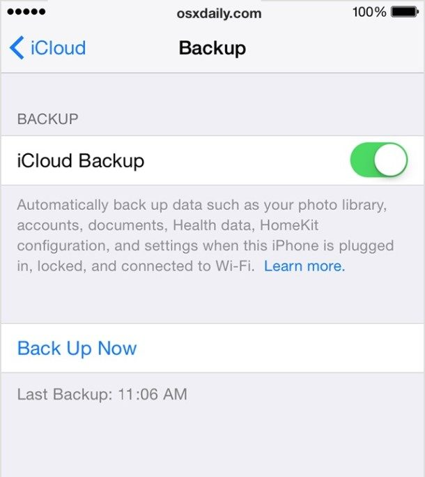 Backup to iCloud in iOS