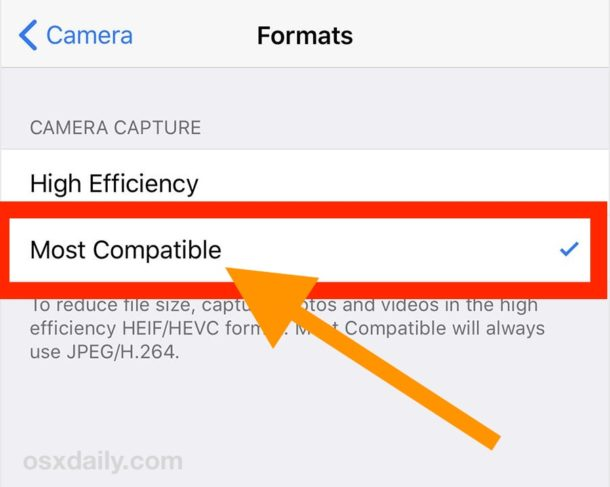 Change the iPhone camera image format default to JPEG