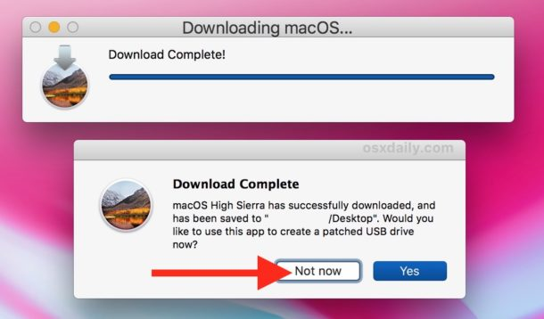 Download of full macOS high sierra installer finished