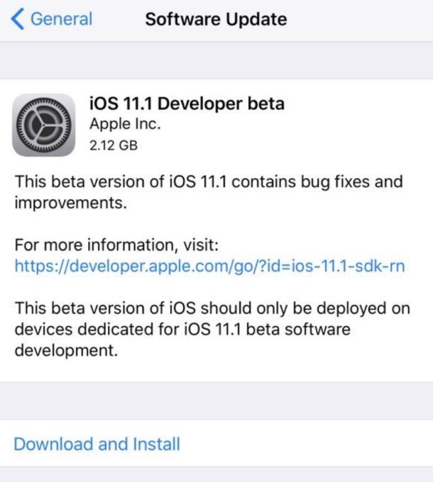 iOS 11.1 beta 1 for developers download available