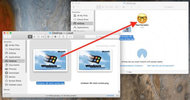 Drag and drop files in AirDrop to the iOS device to send AirDrop
