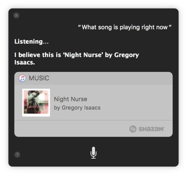 Identifying what song is playing on a Mac with Siri