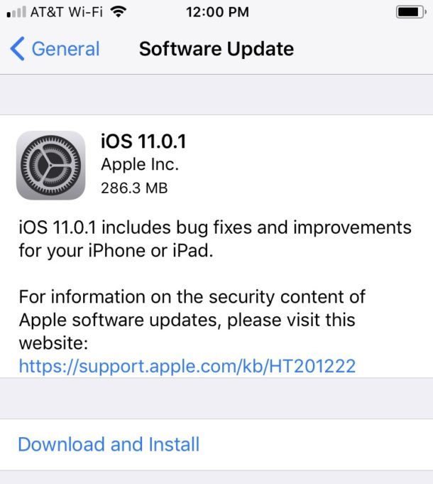 iOS 11.0.1 update download and install