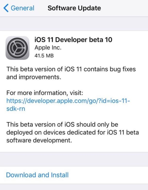 iOS 11 developer beta 10 download available