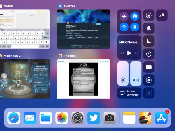 iPad Dock and multitasking in iOS 11