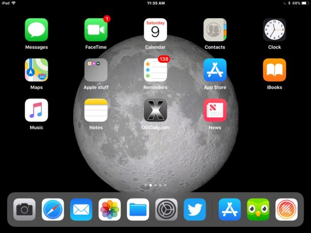 iPad Moon wallpaper from iOS 11 on iPad