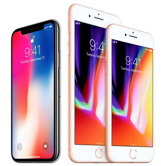 iPhone X next to iPhone 8 and iPhone 8 Plus