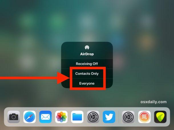 Enabling AirDrop in iOS