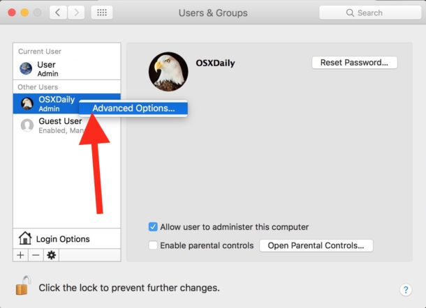 Choose Advanced Options to change user full name in Mac OS