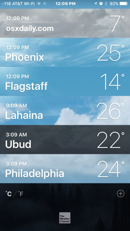 Weather in Celsius instead of Fahrenheit on iPhone