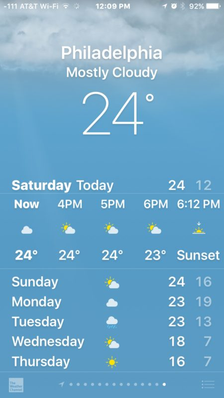 Changing weather degrees format on iPhone