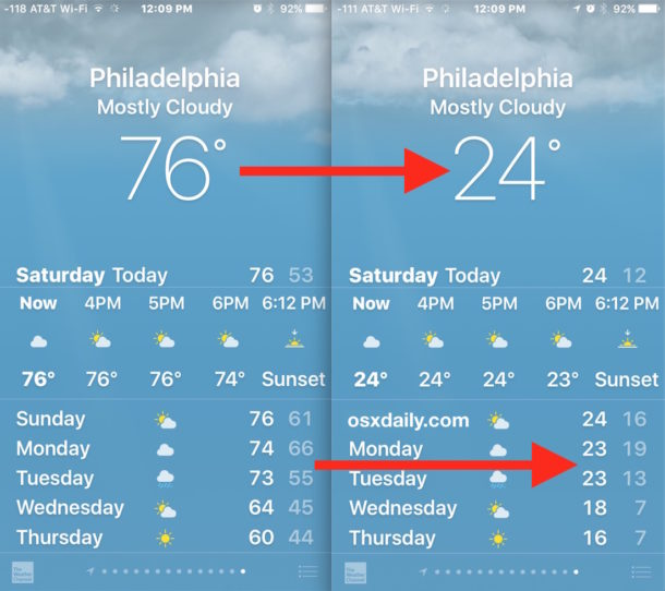 How To Change Weather Temperature From Fahrenheit To Celsius On
