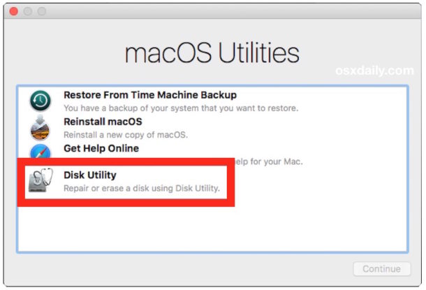 Choose Disk Utility to erase the hard drive for clean install of High Sierra macOS