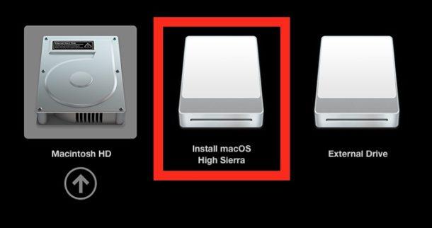 Choose the MacOS High Sierra installer drive