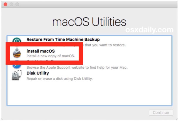 Perform a clean install by choosing Install MacOS