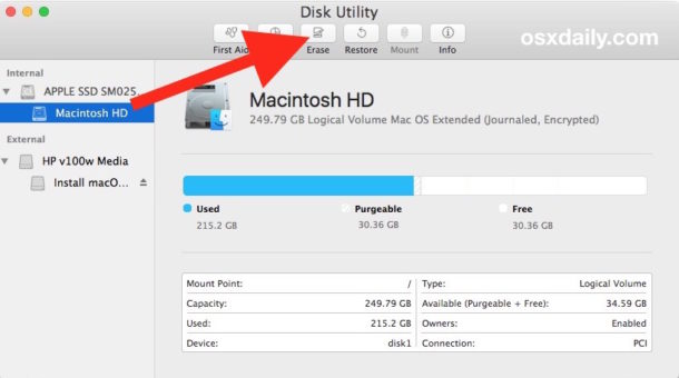 Erase the hard drive for performing a macOS High Sierra clean install
