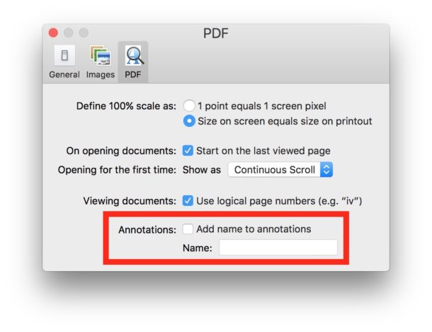 Disable name annotation in Preview for Mac