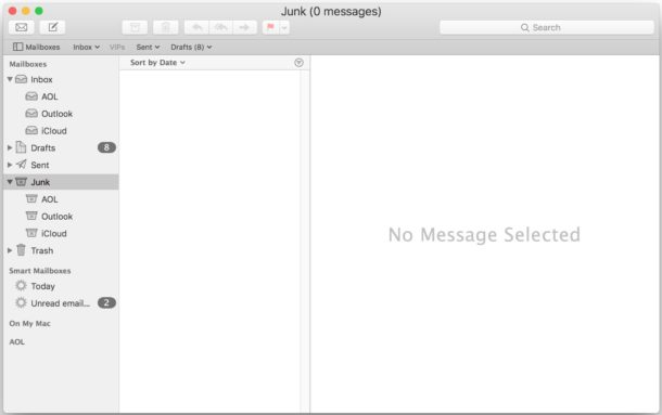 Empty Junk folder in Mail for Mac