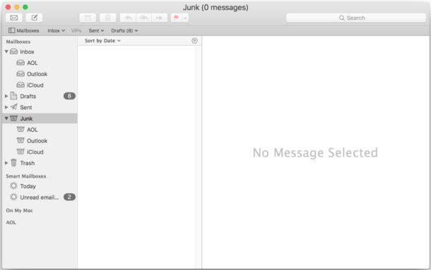 Empty Junk folder in Mail for Mac