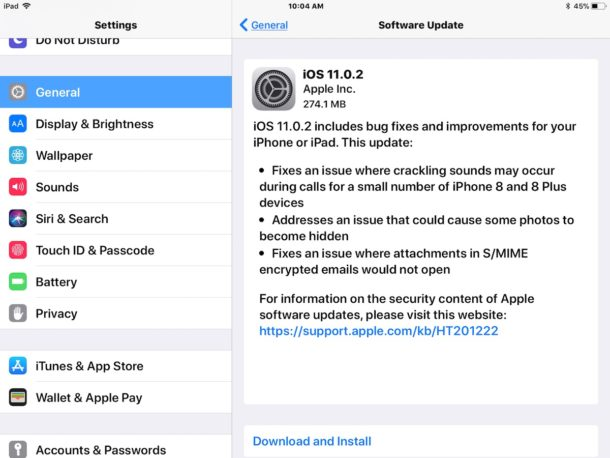 download and install iOS 11.0.2 update