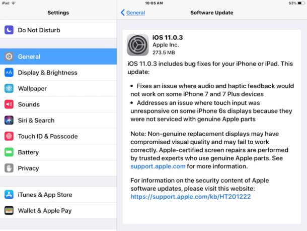 iOS 11.0.3 download and install in Settings