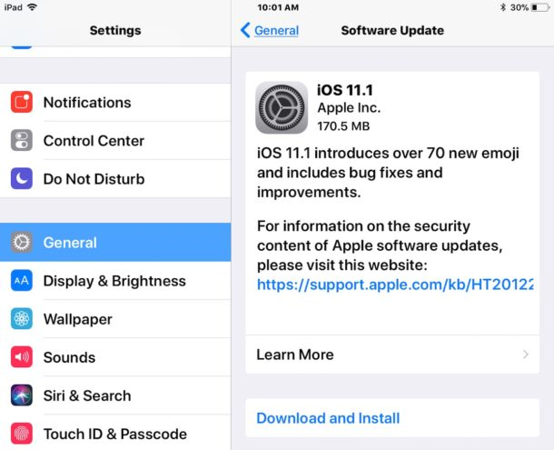 iOS 11.1 update download