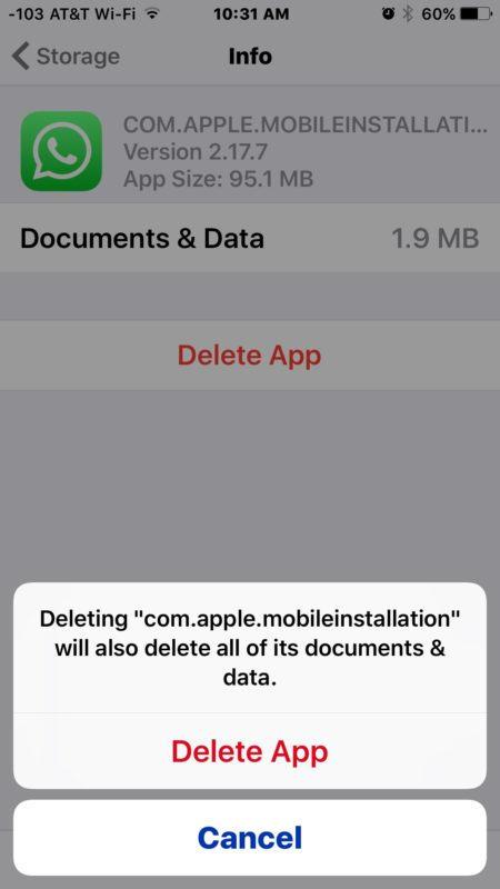Delete the app named com.apple.mobileinstallation