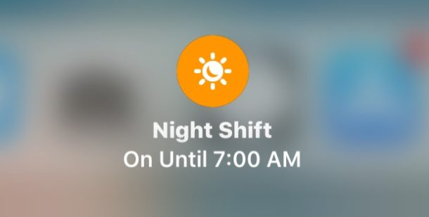 Night Shift in Control Center for iOS 11