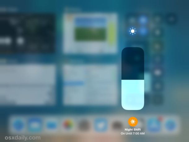 Night Shift enabled in iOS 11 Control Center
