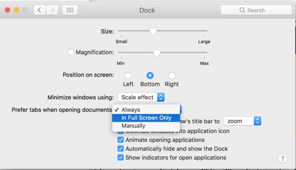 Other tab preference settings for Mac apps