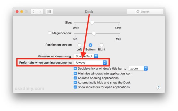 Set to prefer tabs always for Mac apps