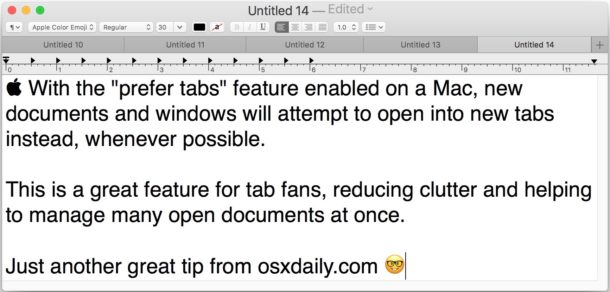 Set apps to prefer tabs on Mac