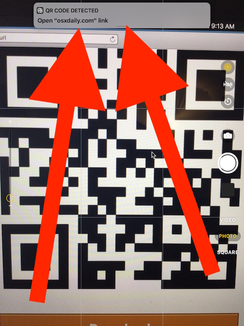 Tap the QR code action notification after QR code read by iOS