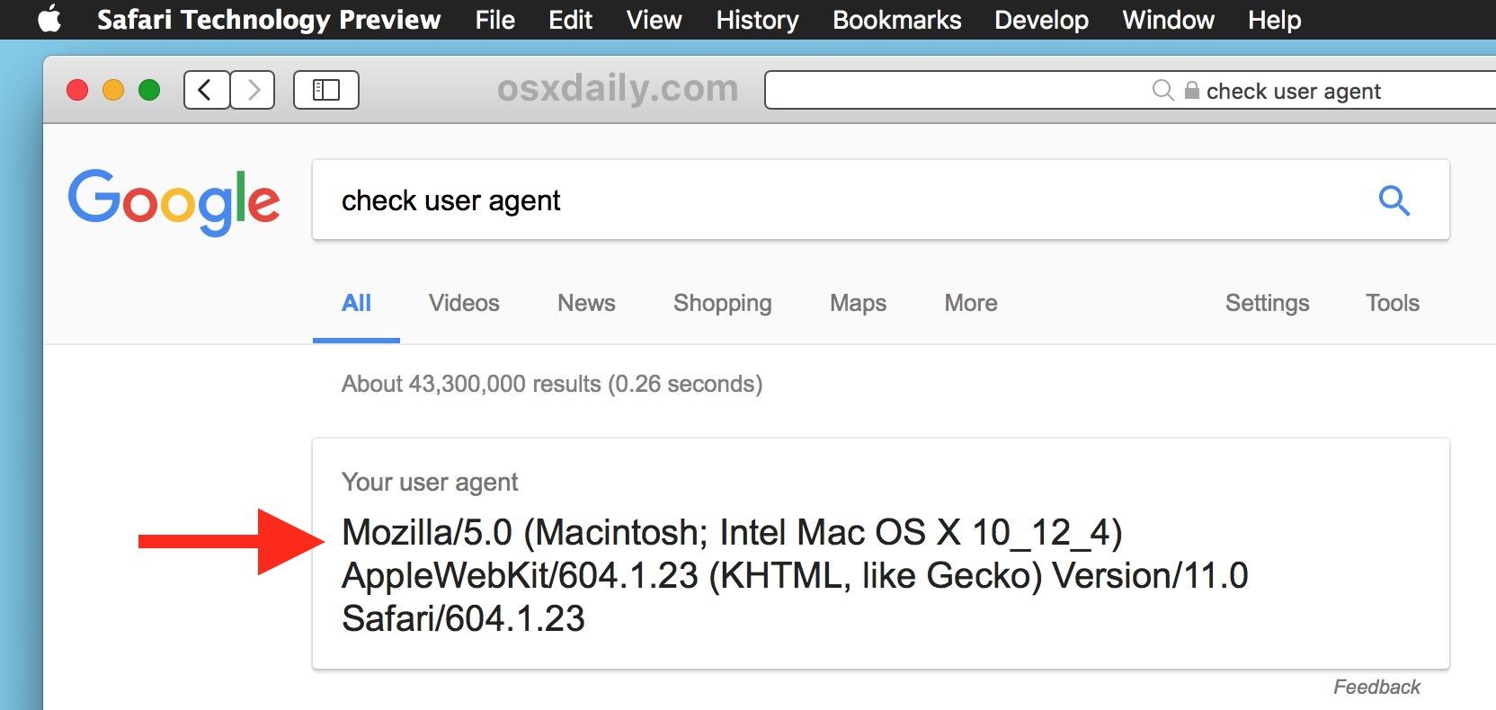 Mac user agent set to normal with Mac Safari
