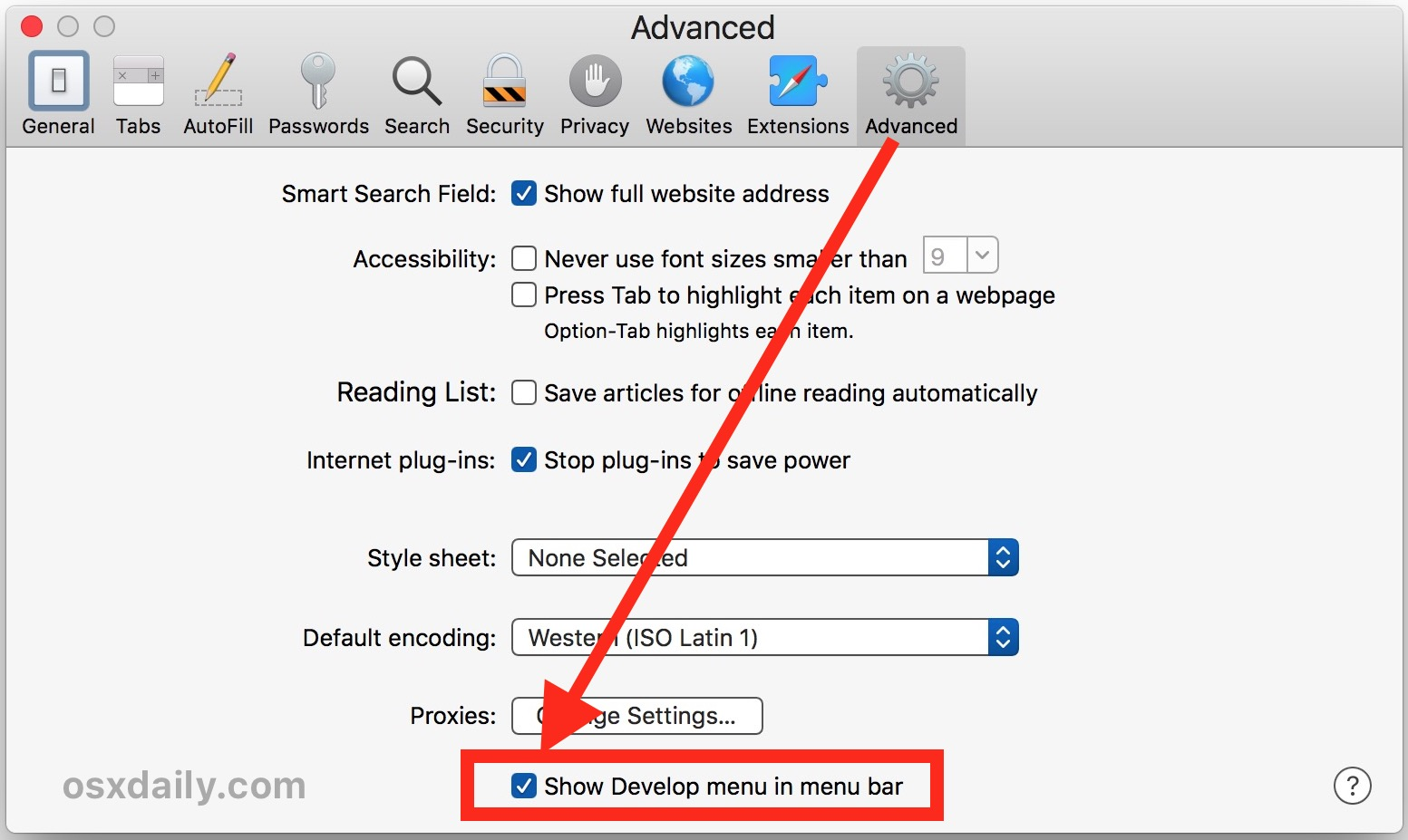Enable the Develop menu to access User Agent for Internet Explorer on Mac