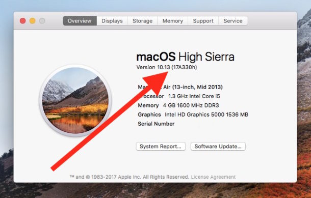 Check to get build number of macOS High Sierra
