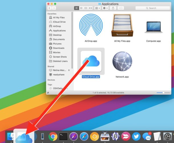 Drag drop iCloud Drive to the Dock on Mac