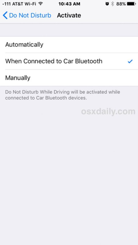 Enable Do Not Disturb While Driving on iPhone