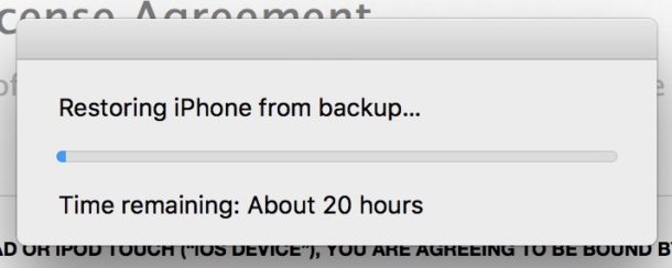 iTunes restore backup times taking forever on iPhone