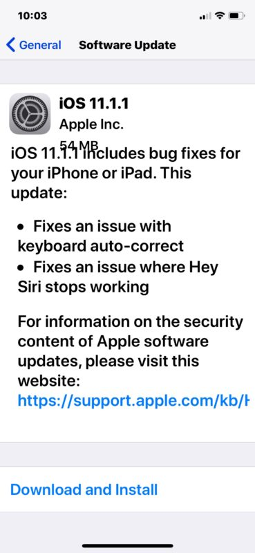 iOS 11.1.1 software update download