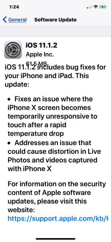 iOS 11.1.2 software update