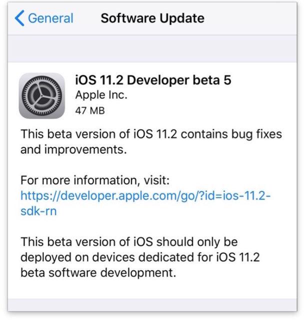 iOS 11.2 beta 5