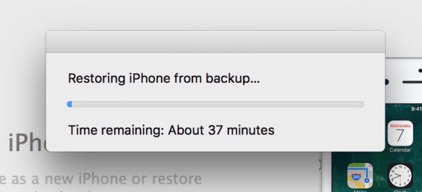 Normal restore from iTunes backup time remaining
