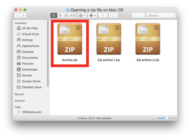 Open the Zip file on a Mac