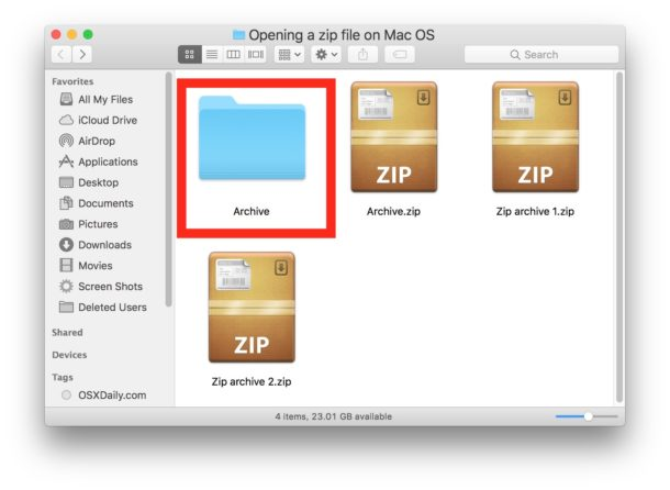 Open a Zip File on a Mac